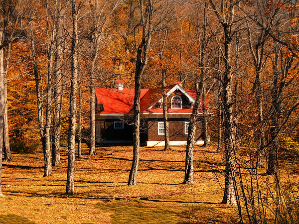 Secluded Red Roof Cottage In An Autumn Scene Print by Chantal PhotoPix