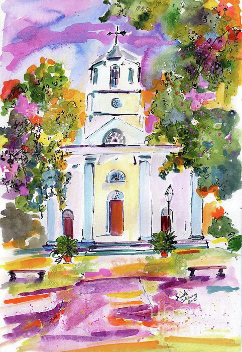 Ginette Callaway - Second Presbyterian Church Charleston South Carolina Watercolor