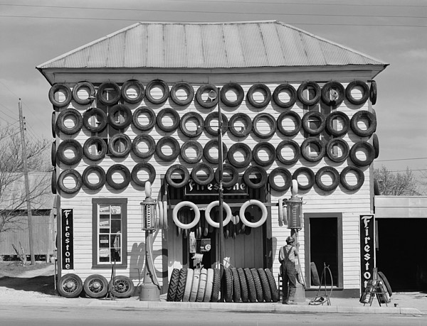 Secondhand Tires Displayed For Sale Print by Everett