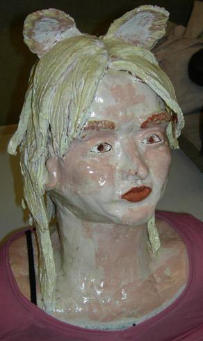 Self Portrait Bust  Ceramic Art