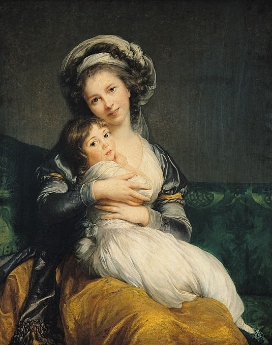 Self Portrait In A Turban With Her Child Print by Elisabeth Louise Vigee Lebrun