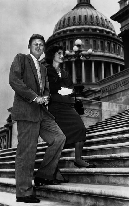 Senator John F. Kennedy, And Jacqueline Print by Everett