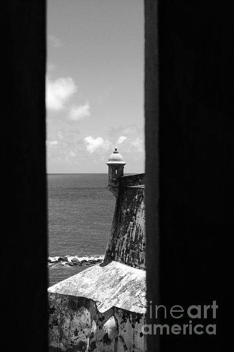 Sentry Tower View Castillo San Felipe Del Morro San Juan Puerto Rico Black And White Print by Shawn O'Brien