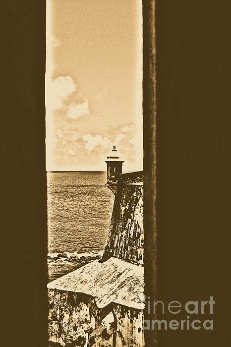 Sentry Tower View Castillo San Felipe Del Morro San Juan Puerto Rico Rustic Print by Shawn OBrien