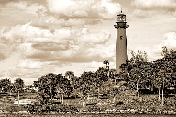 Sepia Lighthouse Print by Rudy Umans