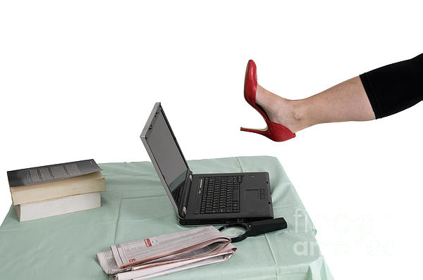 Sexy Woman Kicks A Laptop  Print by Ilan Rosen
