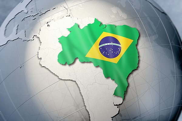 Shape And Ensign Of Brazil On A Globe Print by Dieter Spannknebel