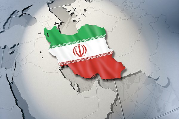 Shape And Ensign Of Iran On A Globe Print by Dieter Spannknebel
