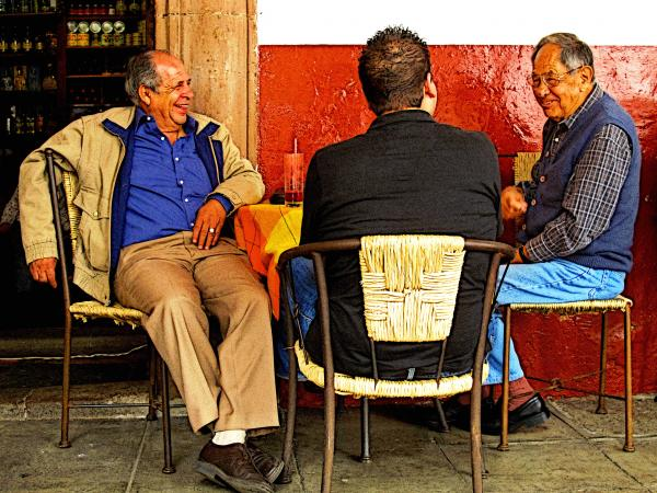 Sharing A Joke Over Coffee Print by Olden Mexico