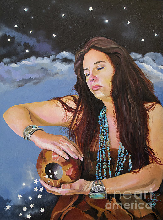 She Paints With Stars Print by J W Baker