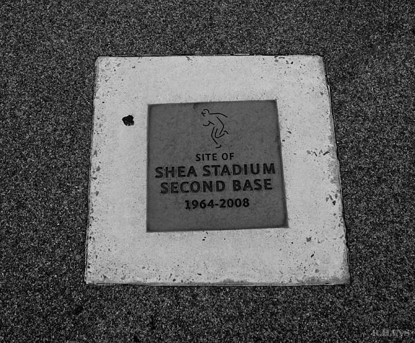 Shea Stadium Second Base Print by Rob Hans