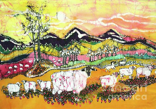 Sheep On Sunny Summer Day Print by Carol Law Conklin