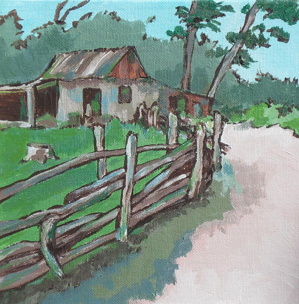 Sheep Sheering Shed Print by Sandy Tracey