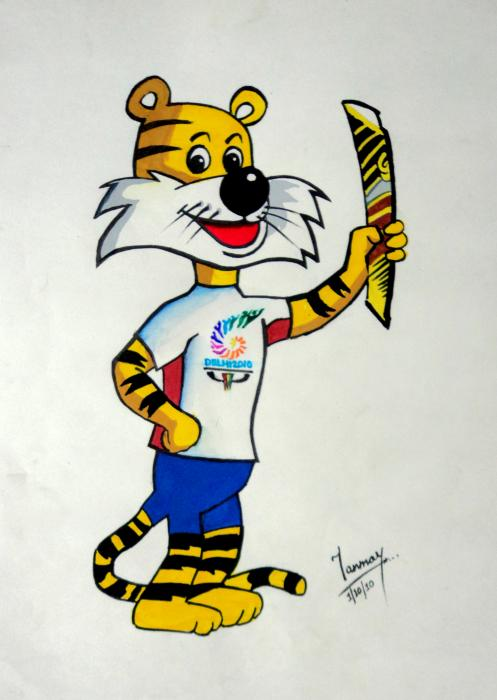 Shera The Mascot For Cwg2010 Print by Tanmay Singh