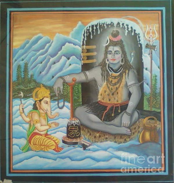 Shiv Ji Nd Ganesh Ji Print by Ravi Kumar