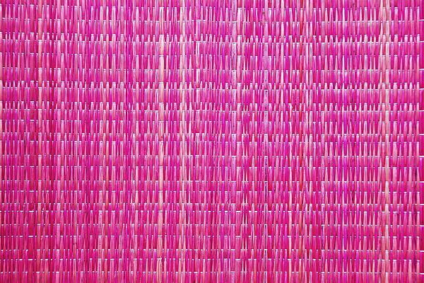 Shocking Pink Woven Raffia Print by Kantilal Patel