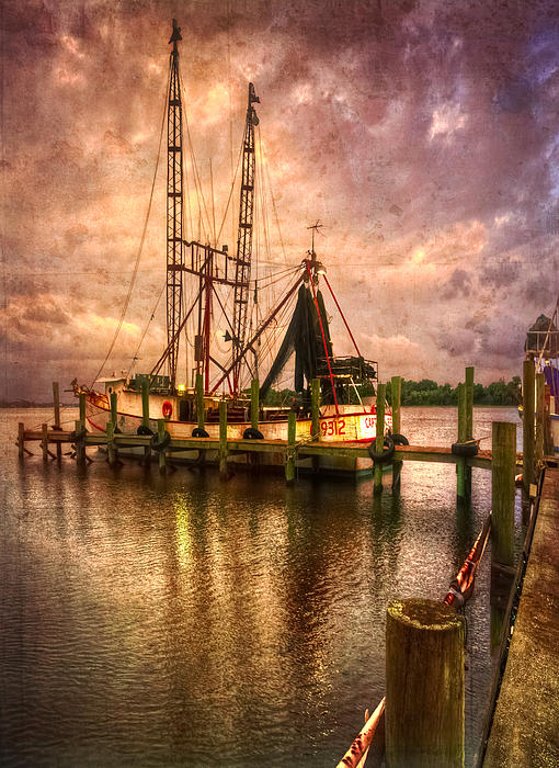 Shrimp Boat At Sunset II Print by Debra and Dave Vanderlaan