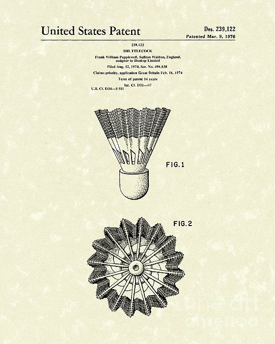 Shuttlecock 1976 Patent Art Print by Prior Art Design