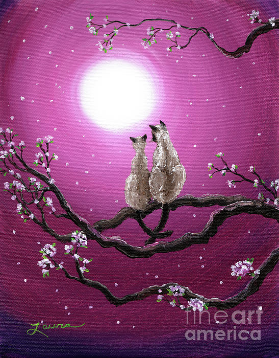 Siamese Cats In Spring Blossoms Painting