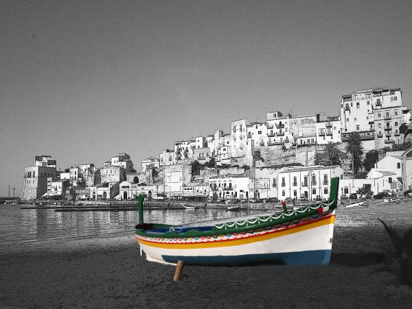 Sicily Fishing Boat  Print by Jim Kuhlmann