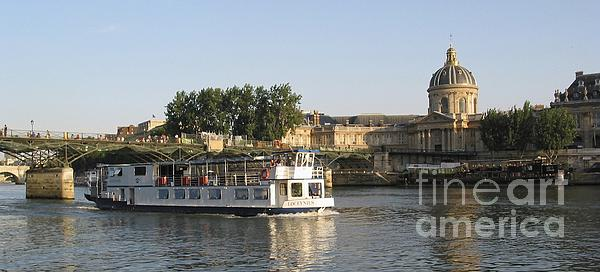 Sightseeing Boat On River Seine. Paris Print by Bernard Jaubert