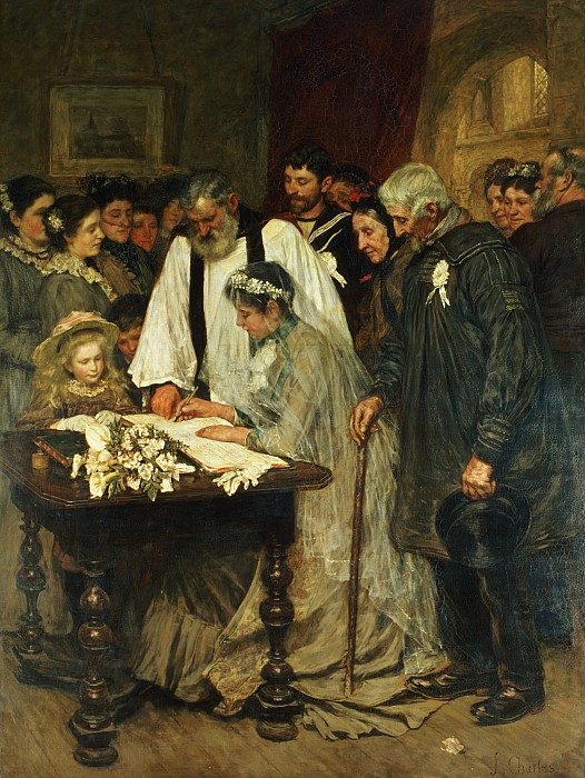 Signing The Marriage Register Print by James Charles