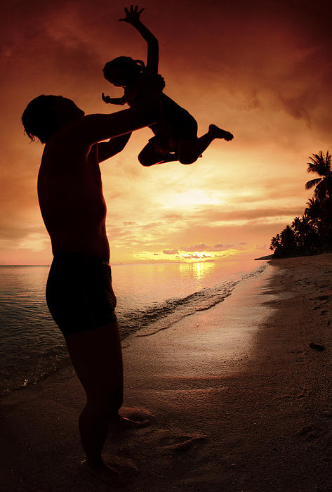 Silhouette Family Of Child Hold On Father Hand Print by Anek Suwannaphoom