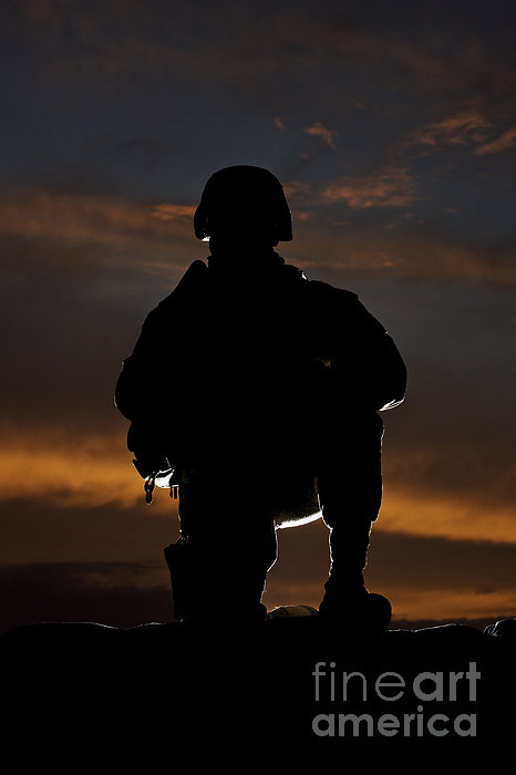 Silhouette Of A U.s. Marine In Uniform Print by Terry Moore