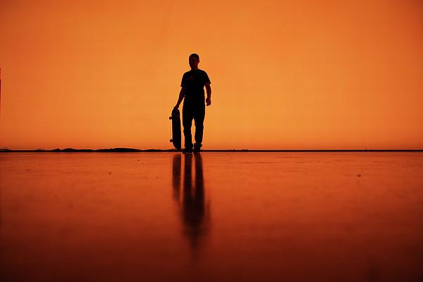 Silhouette Of Man With Skateboard, Berlin Print by Atomare Aufruestung