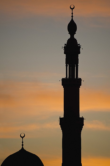 Silhouette Of Mosque At Dawn Print by Axiom Photographic