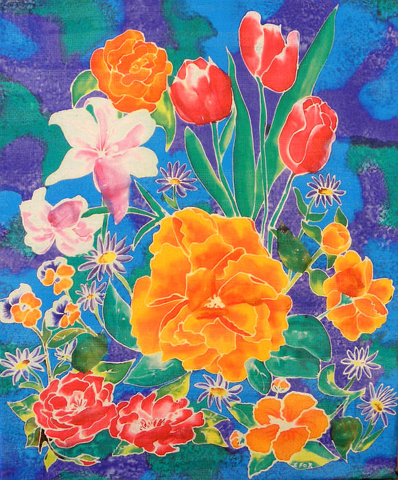 Silk Blooming Flowers Print by Sandra Fox