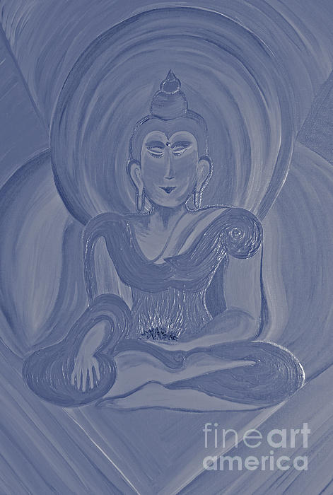 Silver Buddha Print by First Star Art
