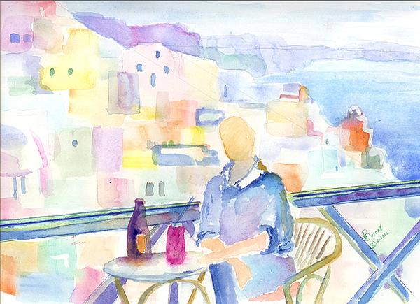 Marsden Burnell - Sipping at the Santorini Cafe