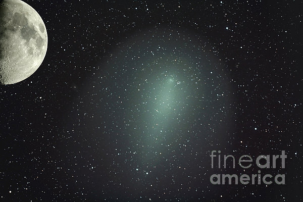 Size Of Comet Holmes In Comparison Print by Rolf Geissinger