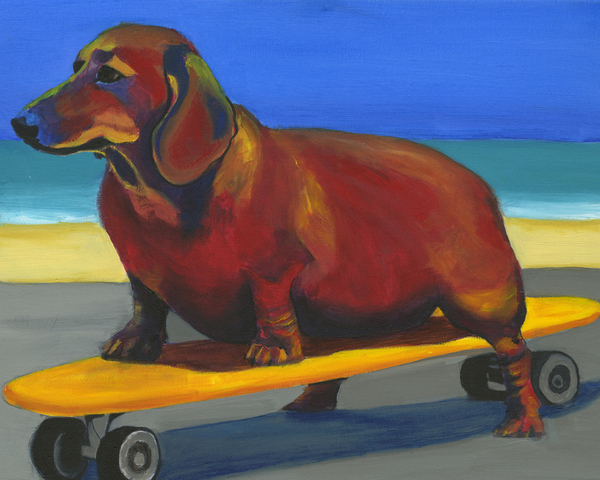 Skaterdog Print by Debbie Brown