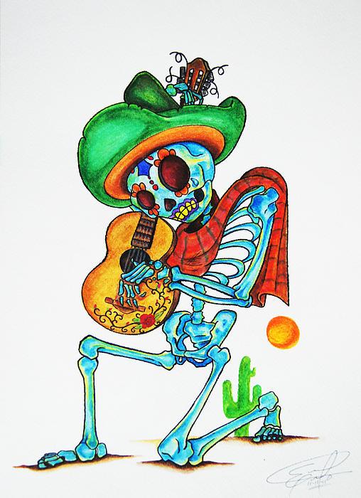 Skeleton Sombrero Print by Erik Pinto
