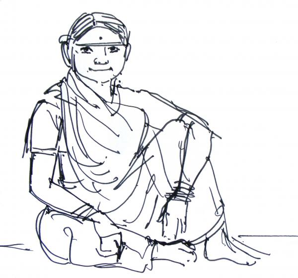 Sketch Of A Labour Woman Drawing