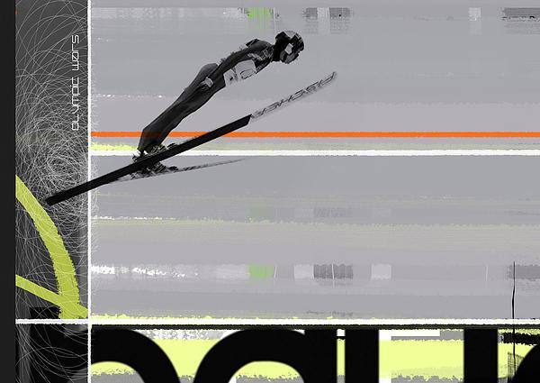 Ski Jumper Print by Naxart Studio