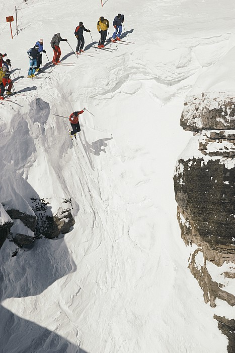 Skilled Skiers Plunge More Than 15 Feet Print by Raymond Gehman