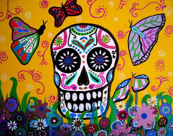 Skull And Butterflies Print by Pristine Cartera Turkus