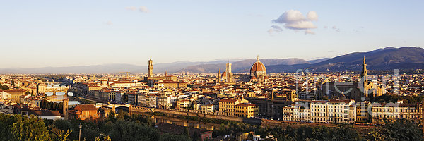Skyline Of Florence From The Piazza Michelangelo At Dawn Print by Jeremy Woodhouse