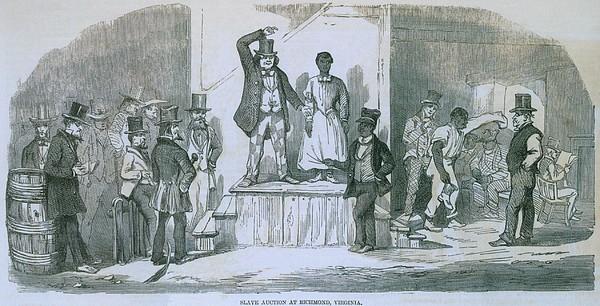 Slave Auction In Richmond, Virginia Print by Everett