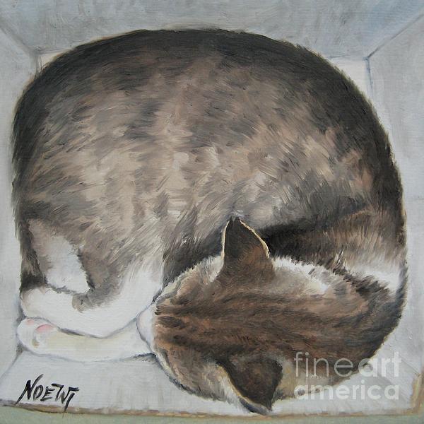 Sleeping Kitty Print by Jindra Noewi
