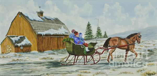 Sleigh Ride Painting  - Sleigh Ride Fine Art Print
