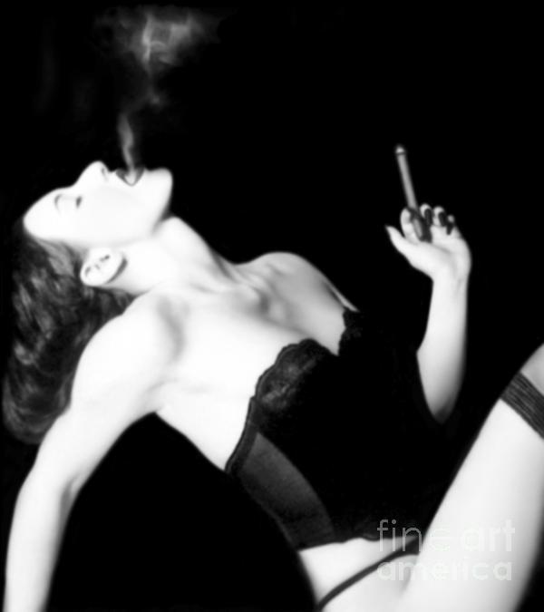 Smoke And Seduction - Self Portrait Print by Jaeda DeWalt