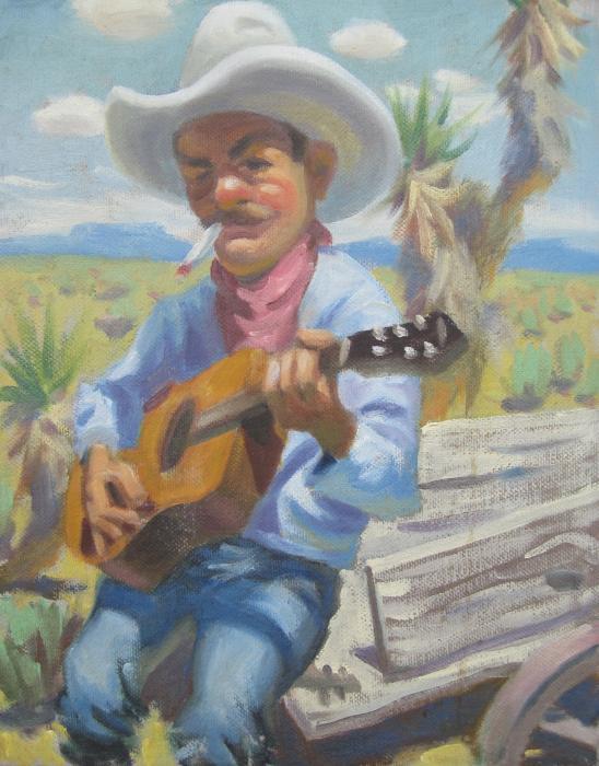 Smokin Guitar Man Print by Texas Tim Webb