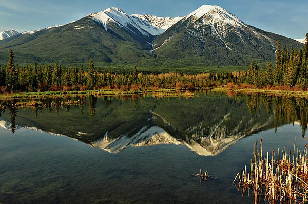 Snow Covered Peaks Of Canadian Rockies Print by Jeff R Clow