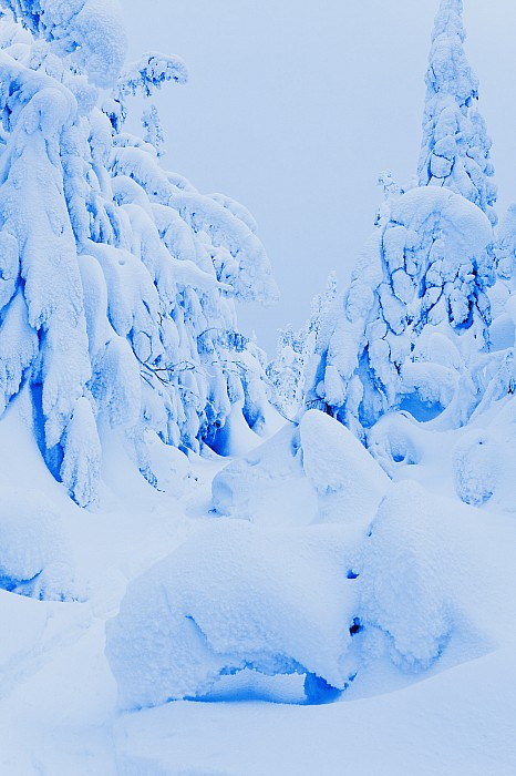 Snow-covered To Vallee Des Fantomes Print by Yves Marcoux