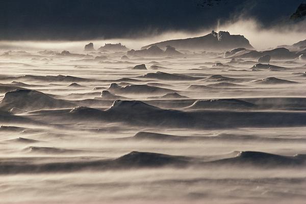 Snow Drift Over Winter Sea Ice Print by Antarctica