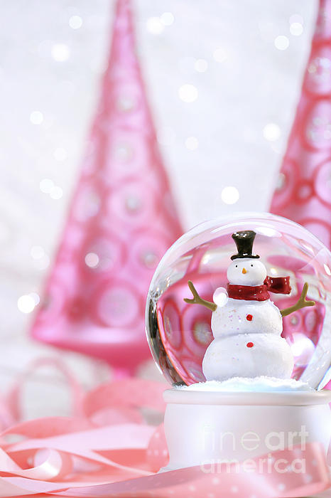 Snow Globe With Pink  Trees Print by Sandra Cunningham